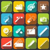 Designer Tools Icons — Stock Vector