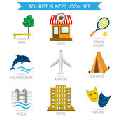 Building Tourism Icons Flat — Stock Vector