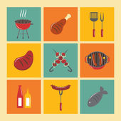 Bbq Grill Icons Flat Set — Stockvektor