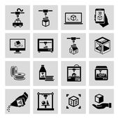 Printer 3d icons set — Stock Vector