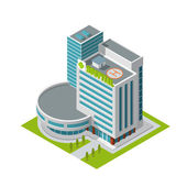 Hospital building isometric — Stock Vector