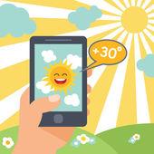 Weather smart phone sun — Stock Vector