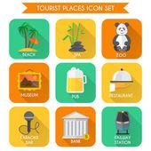 Tourist Places Icons Set — 图库矢量图片