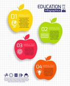 Utbildning apple infographic — Stockvektor