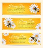 Bee banners set — Stock Vector