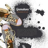 Gumshoes sketch grunge — Stock Vector