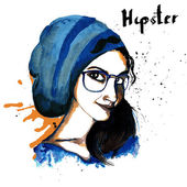 Girl ink hipster — Stock Vector