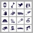 Lumberjack icon set — Stock Vector #46940349