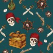 Pirates seamless pattern — Stock Vector