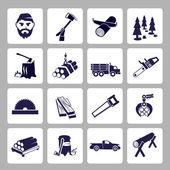 Lumberjack icon set — Stock Vector