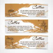 Horizontal  retro coffee set banners — Stock Vector