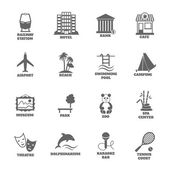 Building Tourism Icons — Stock Vector