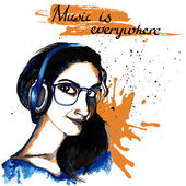 Girl ink hipster music — Stock Vector