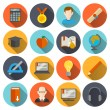 E-learning Icons Flat — Stock Vector