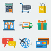 Shopping E-commerce Icons Flat — Stock Vector