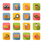 Fast Food Icons Flat — Stock Vector