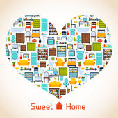 Sweet home heart concept — Vettoriale Stock