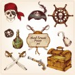 Pirates colored icons set — Stock Vector #47035915