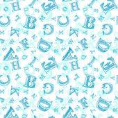 Sketch alphabet seamless pattern — Stock Vector