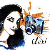 Girl ink hipster camera — Stockvector