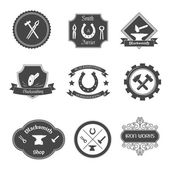 Blacksmith labels collection icons set — Stock Vector