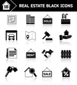 Real estate icons black — Stock Vector