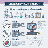 Chemistry research infographic sketch — Stock Vector
