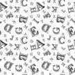 Sketch alphabet seamless pattern — Stock Vector
