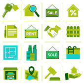Real Estate Icons Green — Stock Vector