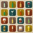 Alcohol Icons Flat — Stock Vector