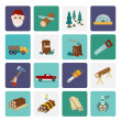 Lumberjack icon set flat — Stock Vector #47229337