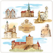 Old city sketch colored — Stock Vector