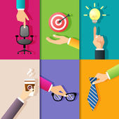 Business hands icons — Stock Vector
