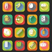 Mat platt ikoner — Stockvektor