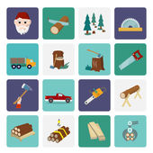 Lumberjack icon set flat — Stock Vector