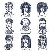 Skizzieren menschen porträts satz — Stockvektor