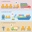 Logistic icons labels — Stockvector