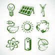 Green energy sketch icons — Stock Vector #47366115