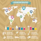 Lumberjack woodcutter infographic — Stock Vector