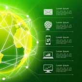 Network green background — Vettoriale Stock