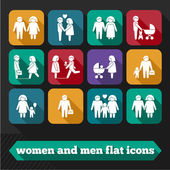 Women and Men Icons — Stock Vector