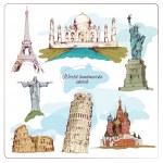 World landmark sketch colored — Stock Vector #47496889