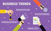 Mãos de tendências de negócios — Vetor de Stock