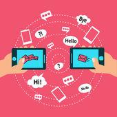 Communication and smart phone — Cтоковый вектор
