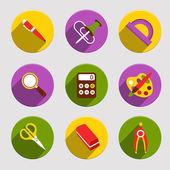 Flat School Icons Set — Stock Vector