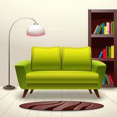 Interior design sofa — Stock Vector