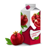 Juice pack pomegranate — Stok Vektör