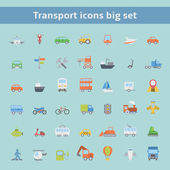 Set of flat transportation vehicles icons — Stock Vector