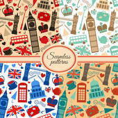 Collection of seamless patterns with London — Stock Vector