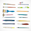 Drawing tools icons sketch — Stock Vector